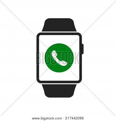 Smart watch icon with call phone symbol. Vector isolated illustration of calling smart watch.
