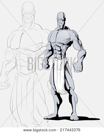 Cartoon illustration of mythical creature. Titan, golem. A creature made of stone. Vector