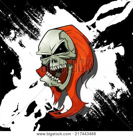 Evil skull with long hair and scratches on background. Horror concept illustration. Vector cartoon