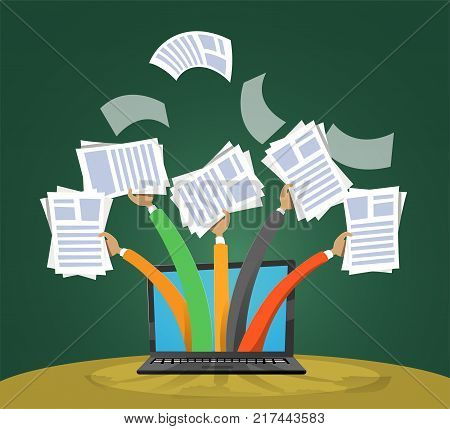 Concept on the topic of employment, self-employment, paper work, multitasking. Vector