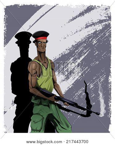 Black cartoon American G.I. with weapon. Vietnam War. Layered vector illustration