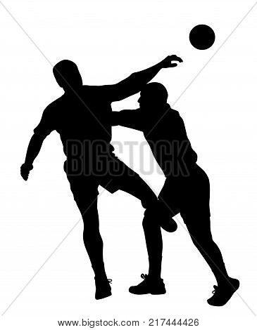 Handball player blocking opponent player. Isolated white background. EPS file available.