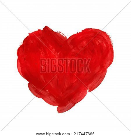 Hand-drawn painted red heart, vector element for your design. Watercolor, gouache, acrylic