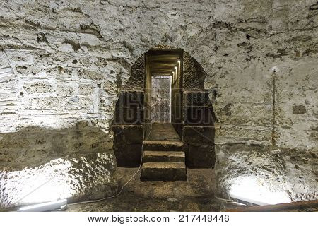 SPLIT, CROATIA - AUGUST 11 2017: Crypt under Diocletian Palace in Split