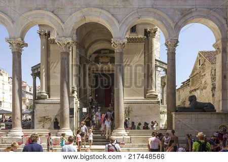 SPLIT, CROATIA - AUGUST 11 2017: Entrance to Saint Domnius Cathedral in Split with people around