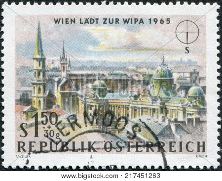 AUSTRIA - CIRCA 1964: A stamp printed in Austria is dedicated to the Vienna International Philatelic Exhibition shows St. Michael's Church (Michaelerkirche) and Hofburg Palace Vienna circa 1964