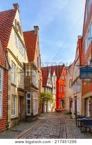 Medieval Bremen street Schnoor with half-timbered houses in the centre of the Hanseatic City of Bremen, Germany