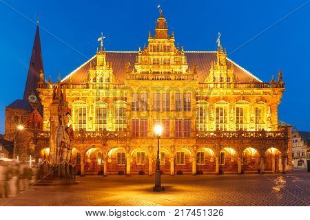 Famous City Hall on the ancient Market Square in the centre of the Hanseatic City of Bremen at night, Germany