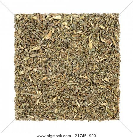Wormwood leaf herb used in alternative herbal medicine to treat anorexia, indigestion and anaemia. Also an ingredient in the spirit absinthe. Artemesia absinthium.