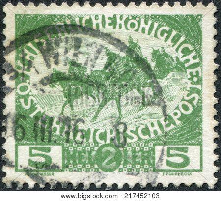 AUSTRIA - CIRCA 1915: A stamp printed in Austria shows a cavalry patrol circa 1915