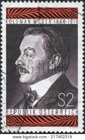 AUSTRIA - CIRCA 1968: A stamp printed in Austria is shown Koloman Moser Stamp Designer Painter circa 1968
