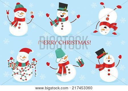 Set of winter holidays snowman. Cheerful snowmen in different costumes. Snowman chef, magician, snowman with candy and gifts.