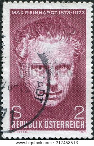 AUSTRIA - CIRCA 1973: A stamp printed in Austria is dedicated to the 100th anniversary of Max Reinhardt Theatrical Director circa 1973