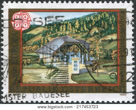 AUSTRIA - CIRCA 1990: A stamp printed in Austria is shown Ebene Reichenau Post Office circa 1990