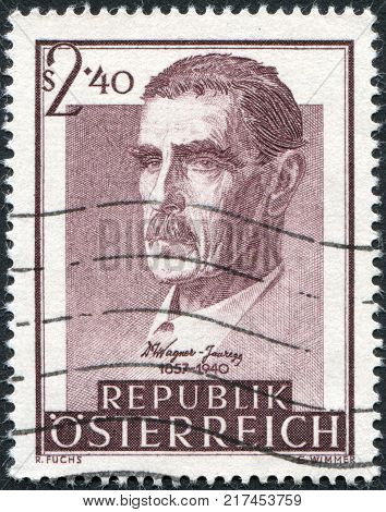 AUSTRIA - CIRCA 1957: A stamp printed in Austria devoted to 100th anniversary of Dr. Julius Wagner-Jauregg Psychiatrist circa 1957