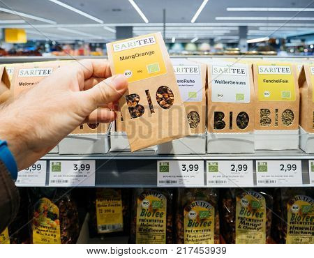 FRANKFURT GERMANY - NOV 25 2017: German supermarket traditional bio organic tea with large BIO inscription