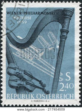 AUSTRIA - CIRCA 1959: A stamp printed in the Austrian, is dedicated to World tour of the Vienna Philharmonic Orchestra, shows the Orchestral Instruments, circa 1959