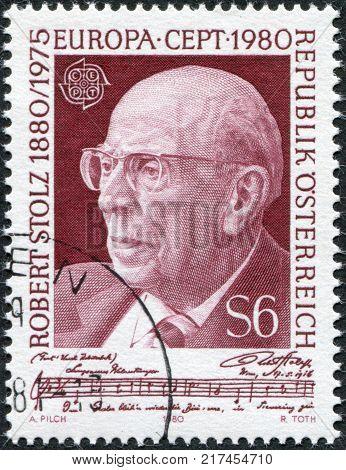 AUSTRIA - CIRCA 1980: A stamp printed in the Austrian portrayed Robert Stolz Composer circa 1980