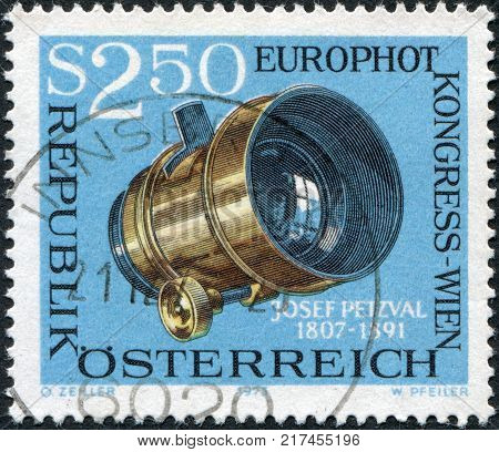 AUSTRIA - CIRCA 1973: A stamp printed in Austria is dedicated to EUROPHOT Photographic Congress Vienna shows Josef Petzval's Photographic Lens circa 1973