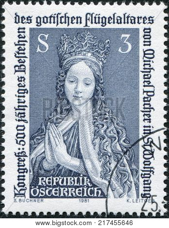 AUSTRIA - CIRCA 1981: A stamp printed in Austria is shown Kneeling Virgin Detail of Coronation of Mary Altarpiece St. Wolfgang circa 1981