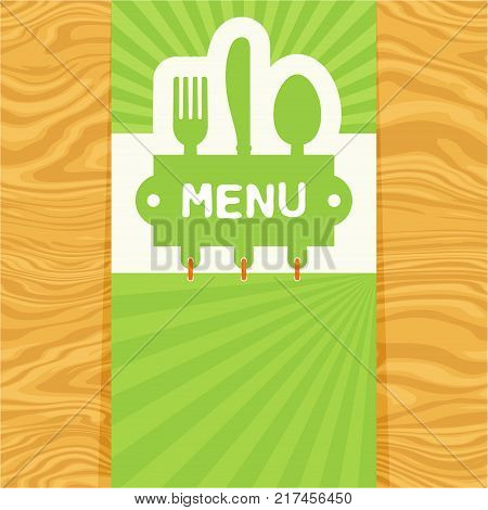 Page with fork, spoon and knife with tag for text on seamless wood pattern. Cutlery for the menu of restaurant or cafe. Illustration for menu with banner, knife, fork and spoon in modern flat design