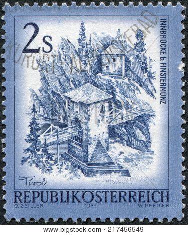 AUSTRIA - CIRCA 1974: A stamp printed in Austria is shown Inn Bridge Finstermuenz circa 1974