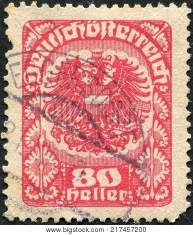 AUSTRIA - CIRCA 1920: A stamp printed in Austria coat of arms circa 1920
