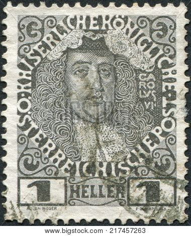 AUSTRIA - CIRCA 1908: A stamp printed in Austria shows Charles VI Holy Roman Emperor circa 1908