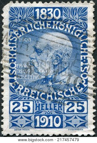 AUSTRIA - CIRCA 1910: A stamp printed in Austria is dedicated to his 80th birthday Franz Joseph I circa 1910