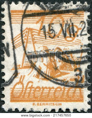 AUSTRIA - CIRCA 1925: A stamp printed in Austria is depicted Fields Crossed by Telegraph Wires circa 1925