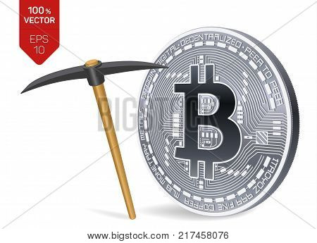 Bitcoin mining concept. 3D isometric Physical bit coin with pickaxe. Digital currency. Cryptocurrency. Silver coin with bitcoin symbol isolated on white background. Vector illustration