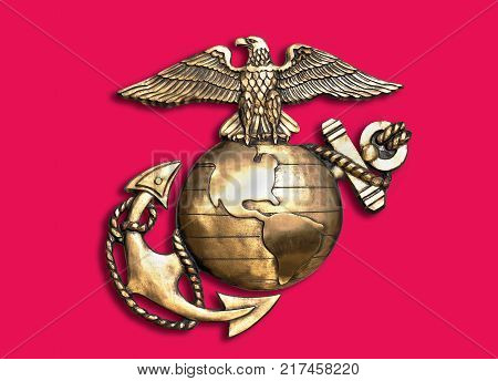 Marine eagle, globe and anchor brass emblem.