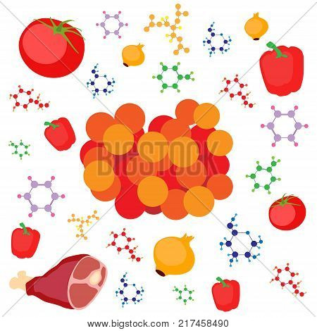 Molecular gastronomy concept illustration. Molecular caviar from meat, vegetable