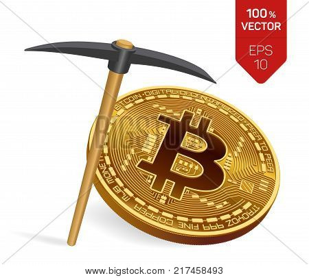 Bitcoin mining concept. 3D isometric Physical bit coin with pickaxe. Digital currency. Cryptocurrency. Golden coin with bitcoin symbol isolated on white background. Vector illustration