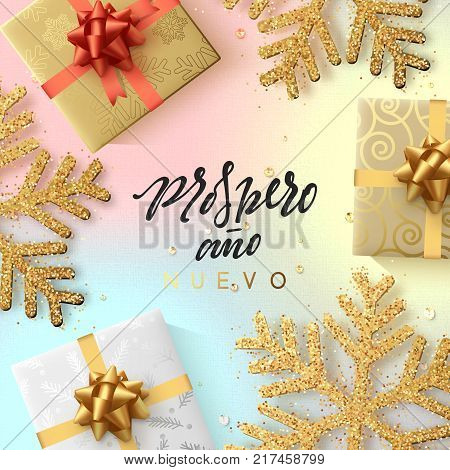 Spanish text Prospero ano Nuevo. Christmas background with shining gold snowflakes and gift box.