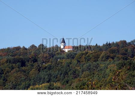 VUKOVOJ, CROATIA - OCTOBER 08: Chapel of St. Wolfgang in Vukovoj, Croatia on October 08, 2016.