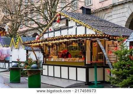 Christmas market in Wuppertal-Barmen, NRW, Germany. December 2017