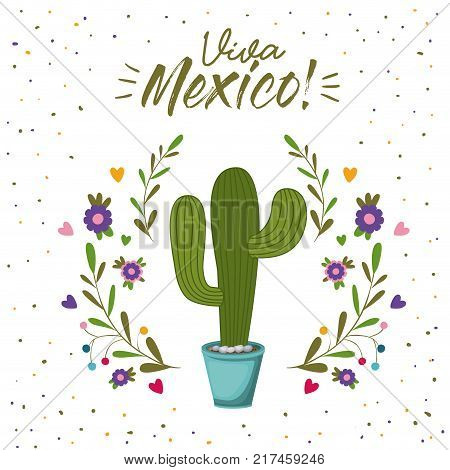 viva mexico colorful poster with cactus plant vector illustration vector illustration