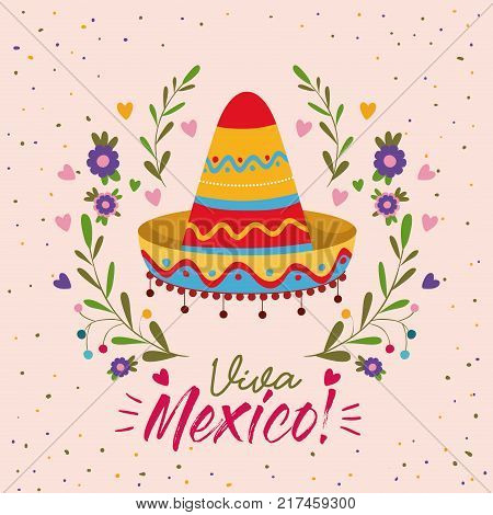 viva mexico colorful poster with mexican hat vector illustration