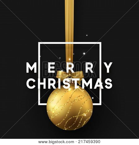Christmas bauble on black background. Xmas gold ball in square frame is on the ribbon with bow. Vector greeting card, poster, banner