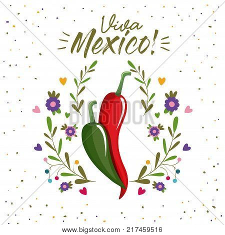 viva mexico colorful poster with chili peppers vector illustration