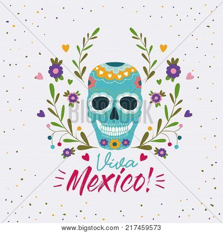 viva mexico colorful poster with decorative skull mask vector illustration