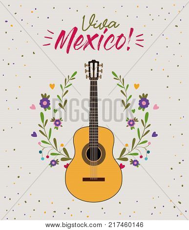 viva mexico colorful poster with guitar in closeup vector illustration
