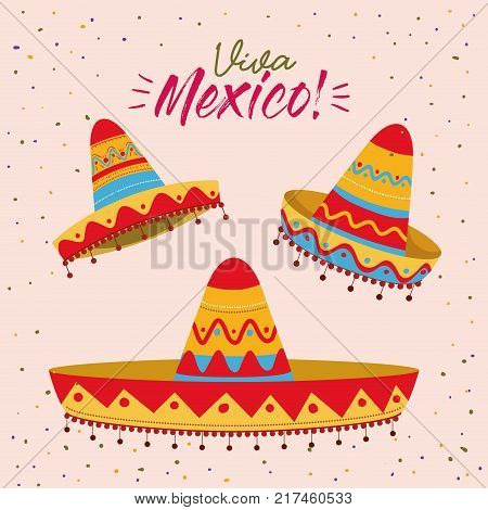 viva mexico colorful poster with set of mexican hats vector illustration