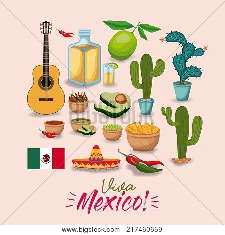 viva mexico colorful poster with traditional mexican elements vector illustration