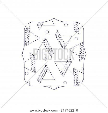 dotted shape quadrate with geometric style figures background vector illustration