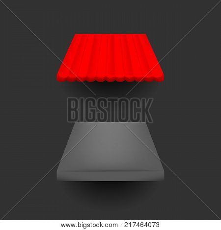 Red and black sunshade for shops, cafes and street restaurants