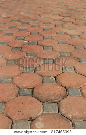 Dirty Of Walkway Brick In Octagon Shape