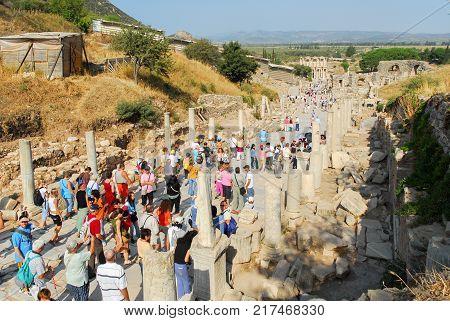 Izmir Turkey - September 22 2007: The ancient city of Ephesus Turkey. Ephesus is a UNESCO World Heritage site.