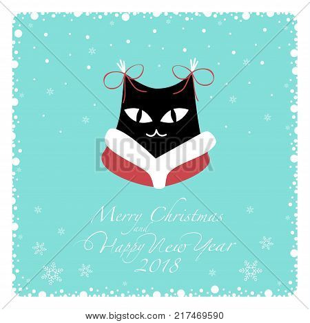 Greeting card. Black cat in red coat with white collar and red bows on the ears.From the bottom of the postcard the phrase merry christmas and happy new year and numbers: two, zero, one ,eight.